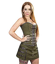 Burleska C Lock Steampunk Mini Skirt (Olive)