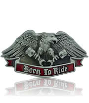 Blue Banana Born To Ride Eagle Belt Buckle (Grey)