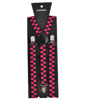 Blue Banana Checkered Braces (Black/Pink)