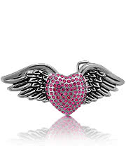 Blue Banana Jewelled Heart And Wings Buckle (Rose)