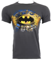 DC Comics Batman Gold Logo T Shirt (Charcoal)